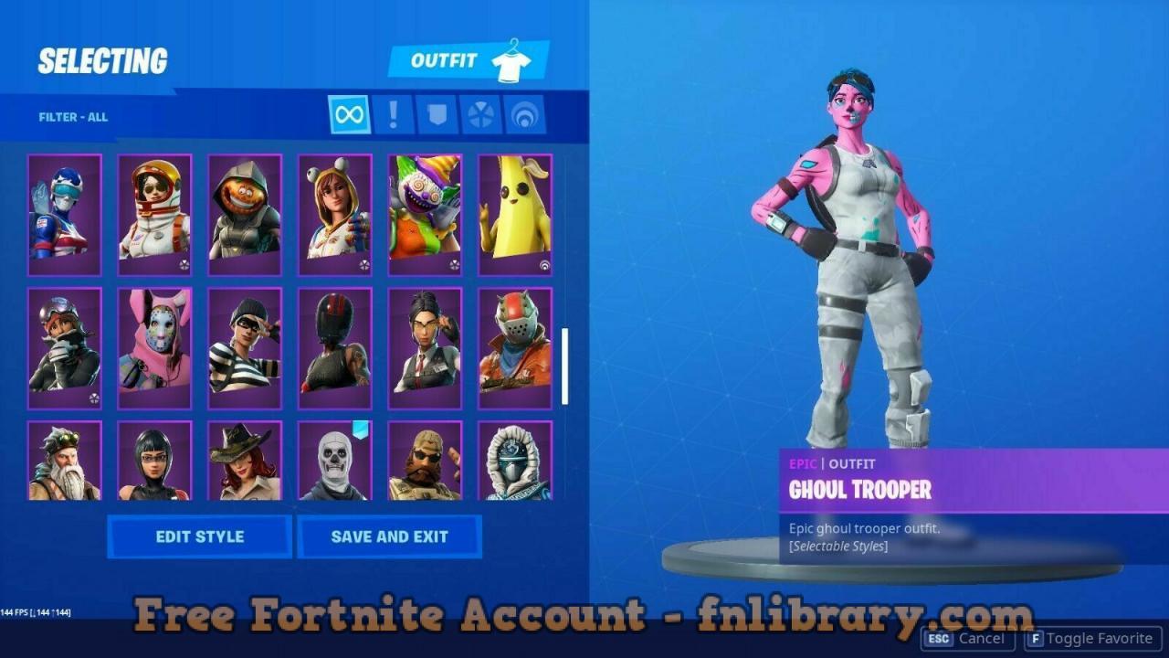 Fortnite Account OG Purple Skull Trooper OG Pink Ghoul Trooper Black Knight